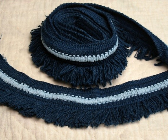 RESERVED - Indigo and Light Blue Brush Fringe from a Vintage Chenille Bedspread - 2 yards
