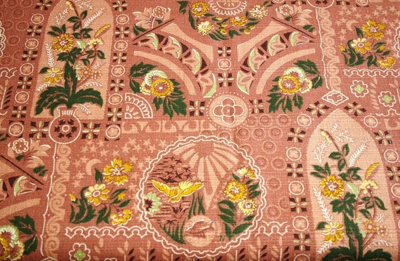 Stunning Rosy Brown Birds and Flowers Unused Mid Century Botanical Barkcloth Vintage Fabric - 47 inches by 34 inches