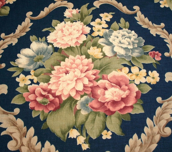 Gorgeous Peonies on Dark Blue Vintage Barkcloth Era Fabric - 48 by 38 Inches