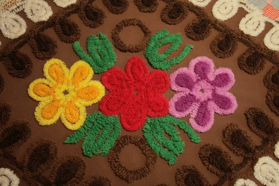 Dark Chocolate with Bright Flowers and White Curlicues Vintage Chenille Bedspread Fabric - Large Piece