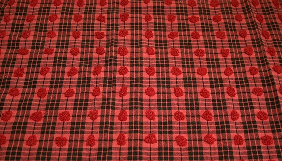 Red and Black Tartan Popcorn Plaid Morgan Jones Vintage Chenille Fabric - 28 x 22 Inches
