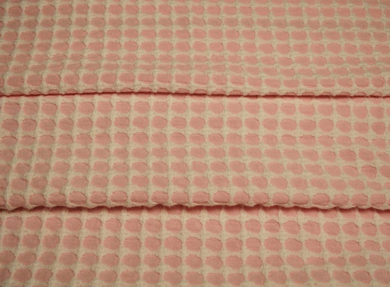 Peony Pink and White Lady Galt Vintage Chenille Bedspread Fabric - 24 by 24 Inches