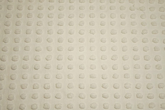 Classic White Heiress Popcorn Morgan Jones Vintage Chenille Bedspread Fabric - 36 x 26 Inches