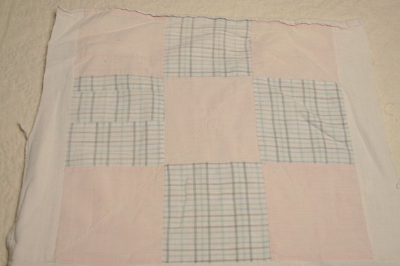 Pink and Blue Shirtings Primitive 19th Century Nine Patch Vintage Quilt Cutter Pieces - 6 Blocks