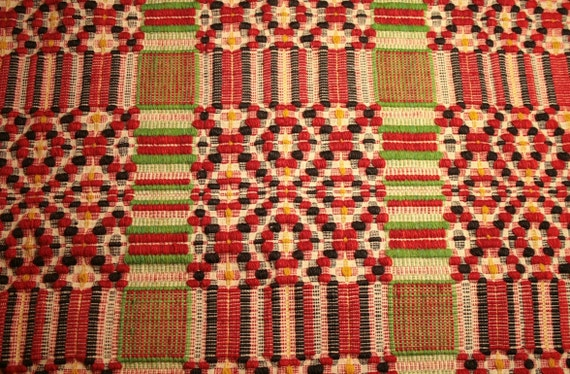 19th Century Red, Bright Green, Black, Yellow and Beige Linsey Woolsey Jacquard Overshot Coverlet Piece - 27 x 22 Inches