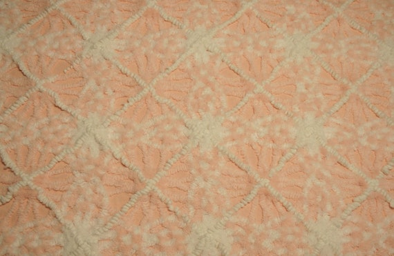 Peaches n Cream Starburst Plush and White Pearl Lattice Vintage Chenille Bedspread Fabric - 38 by 26 Inches