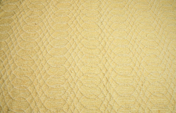Butter Yellow and White Cabin Crafts Vintage Chenille Bedspread Fabric - 32 x 26 Inches
