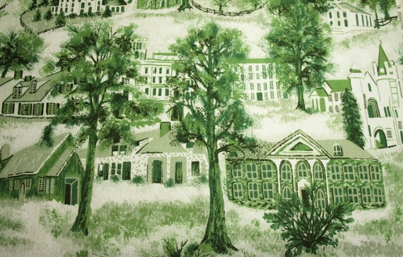 "Very Rare Grandma Moses ""Williamstown Toile"" Unused Vintage Barkcloth - 29 x 23 Inches"