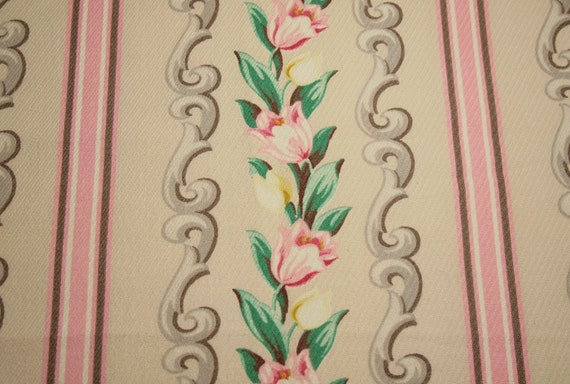 Pink and Yellow Tulips Vintage Barkcloth Era Fabric Piece - 54 x 39 Inches