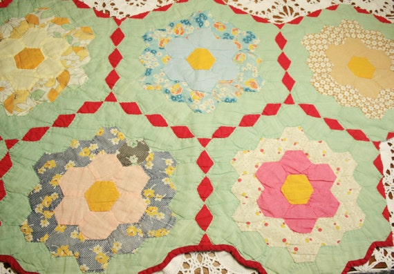 Grandmother's Flower Garden Vintage Quilt Piece - Unusual and Lovely Colors