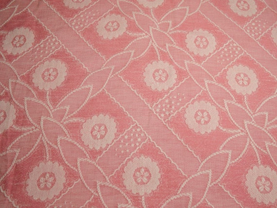 Coral Pink Woven Cotton Bates Vintage Bedspread Fabric - Large Piece