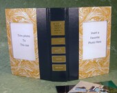 Reader's Digest Book Cover Double Photo Frame Gold Marble/Navy Blue
