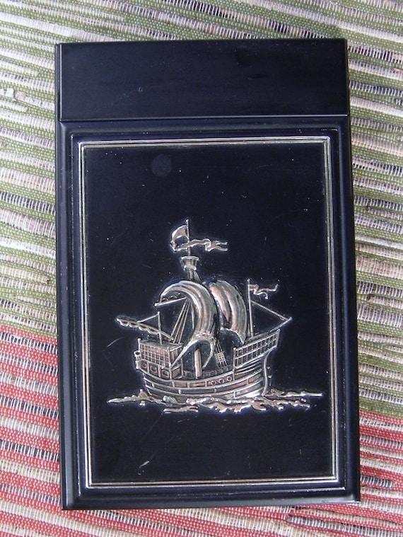 Vintage Sailing Ship Metal Notepad Holder w/New Antique Ship Pad