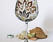 Wine Glass Baloon-Decorative-Tea Light Candle Holder Hand Painted Art Nouveau Design