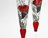 Wedding Toasting Champagne Flutes Hand Painted -Stunning Color Design Red,Silver-White and Black