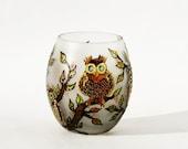 Owls Tea Light Candle Holder Hand Painted Unique Home Decor OOAK