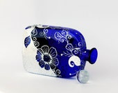Hand Painted Royal Blue Glass Art Bottle,decorated with Swarovski Crystals Home Decor Vase