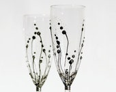 Black and White Wedding Toasting Champagne Flutes Hand Painted and Decorated with Clear Swarovski Crystals