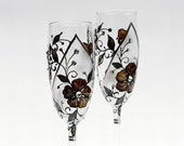 Hand Painted Champagne Toasting Flutes Chocolate Flowers Wedding Glasses Brown Black Diamond