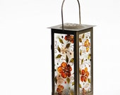 Lamp Candle Holder Hand painted Summer Garden Orange Flowers Swarovski Crystals