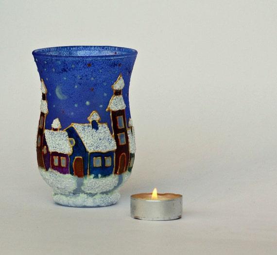 Hand Painted Christmas Tea Light Candlehoder  Quiet Winter Night