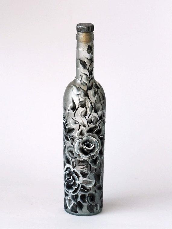 Черные и Белые Розы Ручная роспись бутылки