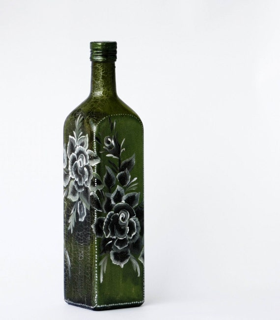 Green Bottle Black and White Memory of Summer -Roses, Silver shades, Golden webs OOAK
