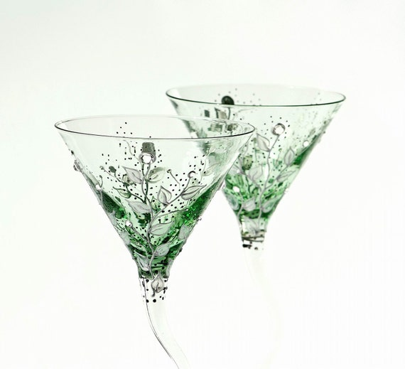 MADE to ORDER 2 sets of 2 Green Martini Glasses Silver leafs Clear  and Emerald Swarovski  Crystals