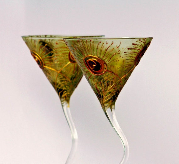 Peacock Martini Glasses Hand painted Set of 2