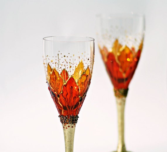 Set of 2 Aperitif Glasses Hand Painted Crocus Gold Orange Yellow Sunshine Fire Opal Swarovski Crystals