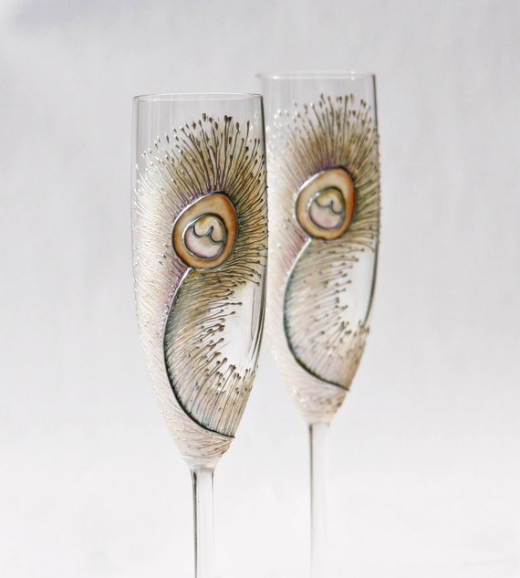 Bleached Peacock Feather Hand Painted Champagne Flutes