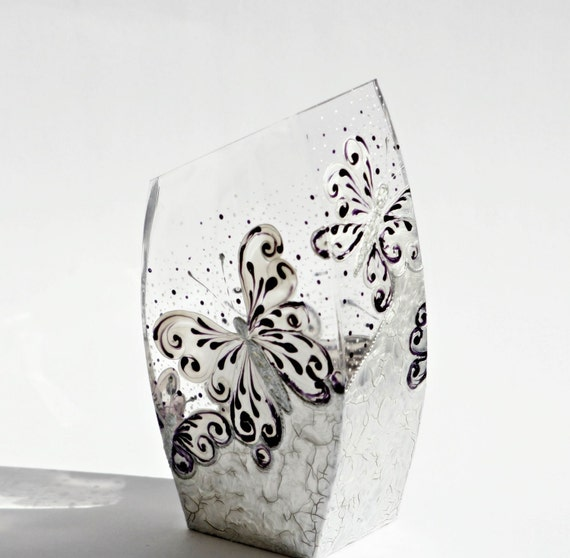 Center Piece Vase Candle Holder Hand Painted Silver Purple Butterfly Rustic
