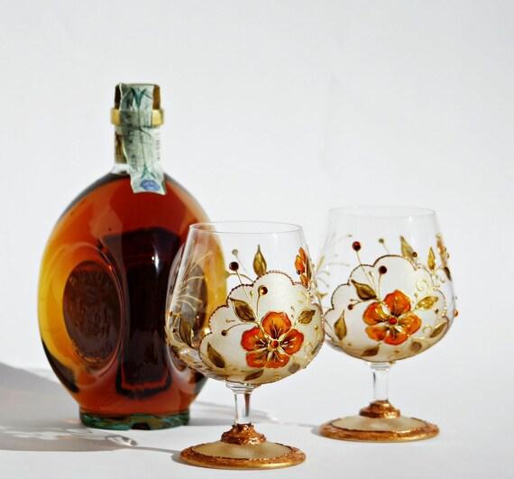 "Cognac/Brandy/ Liqueur/Wine Hand Painted Glasses Set of 2 ""Sip with Pleasure"""