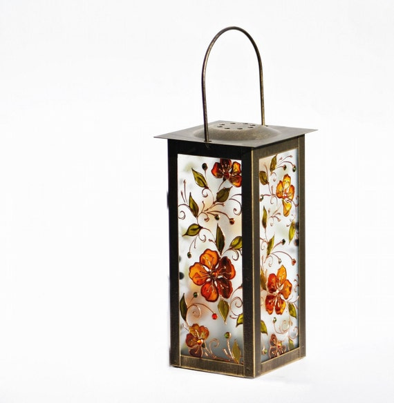 Lamp Candle Holder Hand painted Summer Garden Orange Flowers Swarovski Crystals