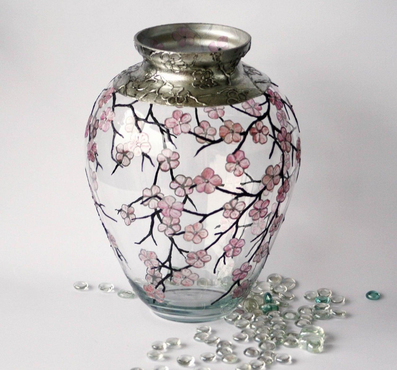 Hand Painted Glass Vase Cherry Blossom Sakura2