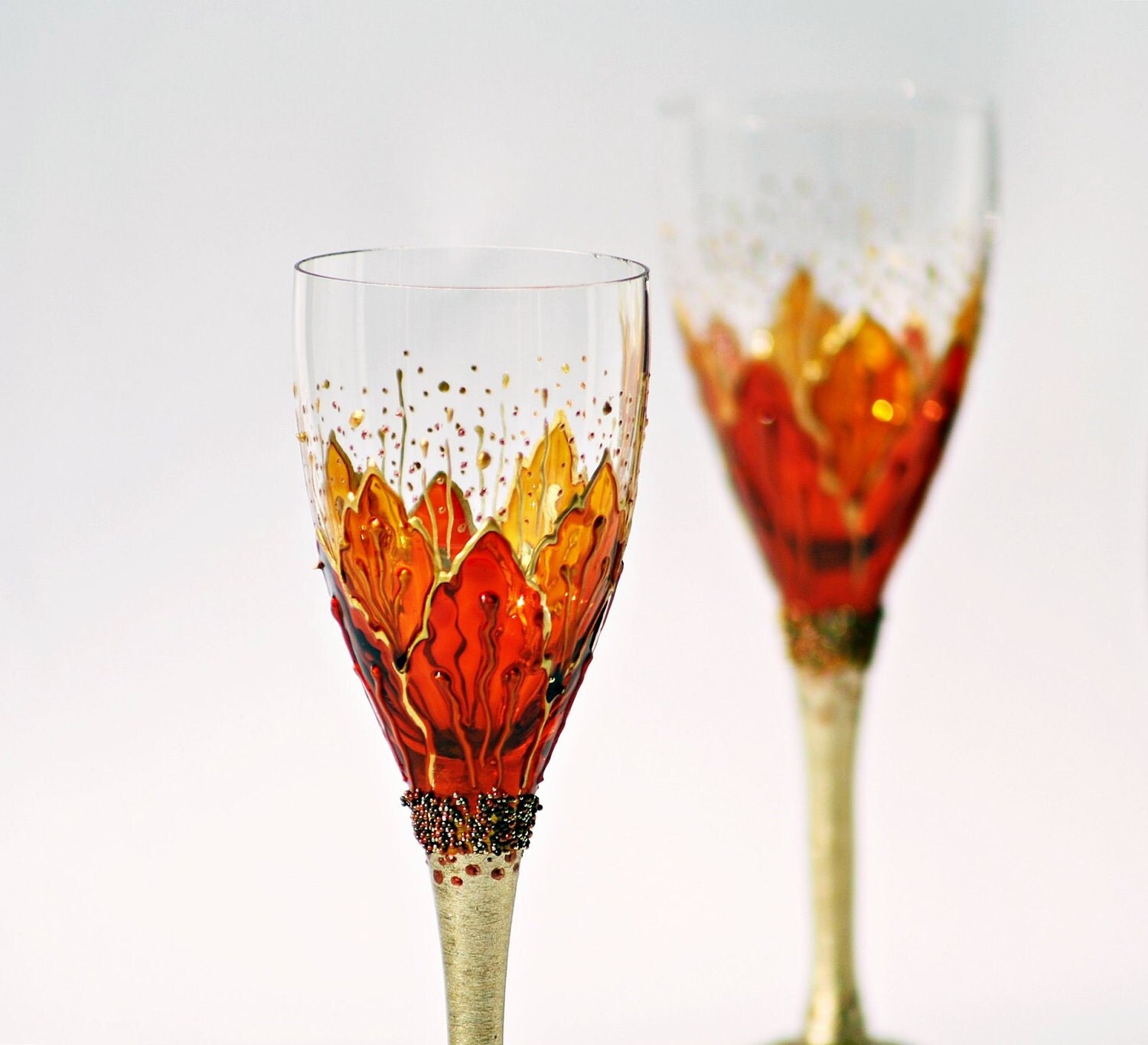 set of 2 aperitif glasses hand painted crocus gold orange. Black Bedroom Furniture Sets. Home Design Ideas
