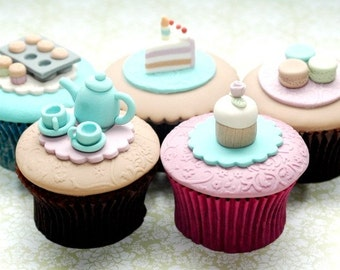 High Tea Set of 5 Cupcakes PDF Tutorial