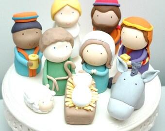 Christmas Nativity Scene Set of 9 Figurines Cake Toppers PDF Tutorial