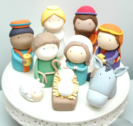 Cake Decor Figurines : Christmas Nativity Scene Set of 9 Figurines Cake Toppers PDF