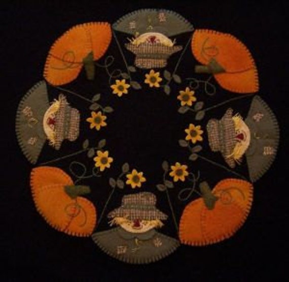 Scarecrow Jack in the Pumpkin Patch Penny Rug Kit