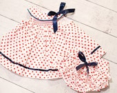 Easter, Spring or Summer Modern swing style Firecracker Smocked  Dress with Ruffled Panties