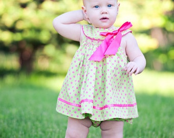 Easter, Spring or Summer Polka dot Infant or Toddler dress - Hand smocked
