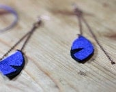 Recycled Leather Earrings - STORM Earrings , Cooper Chain, royal blue, Black, golden