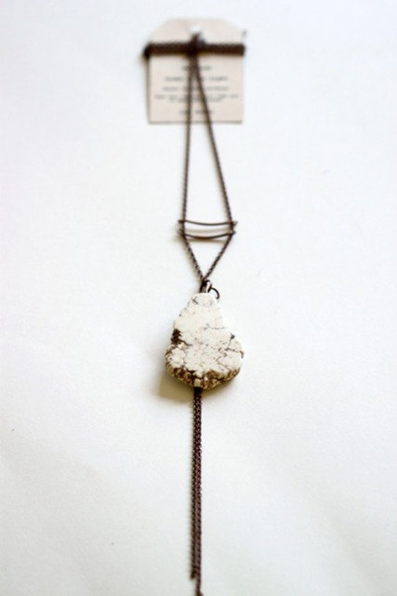 SUMMER SALE : Natural - Raw white turquoise stone Necklace - antiqued copper chain, copper brass tubes