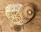 Japan Earthquake Relief / Bronwyn's Crochet Covered Lacework River Rock / Beach Stone Paper Weight No. 1 Ready to Ship