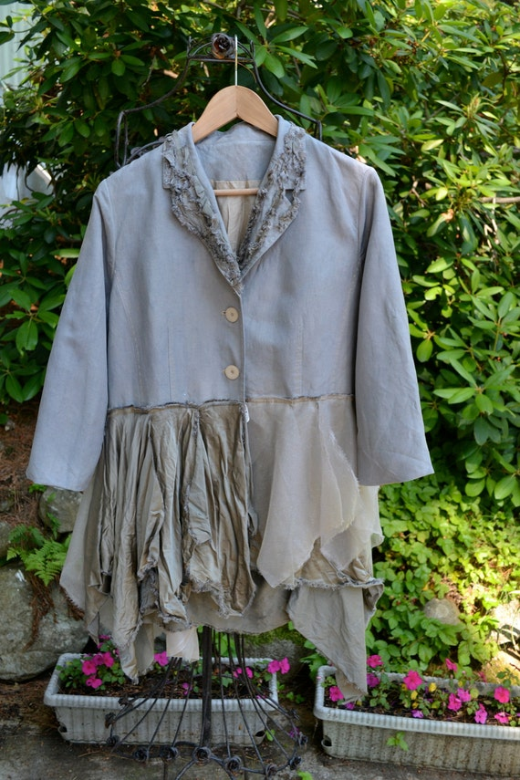 Large / Upcycled / Linen Jacket / One of a kind by Irinale