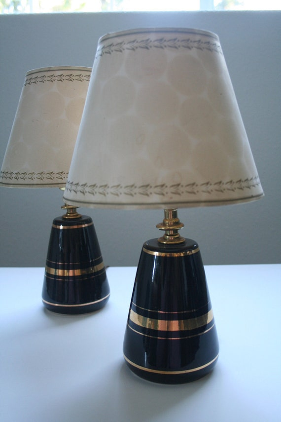 Vintage black and gold eames era lamps for Eames lampe