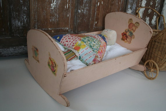 vintage doll crib doll bed