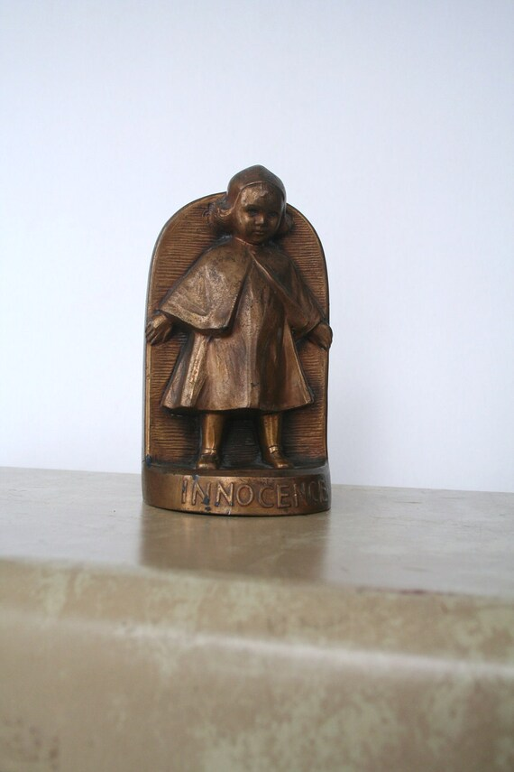 "vintage bronze Jennings Brothers ""INNOCENCE"" bookend"