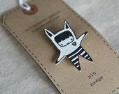 little man george brooch - by elizabeth pawle - hand drawn hand cut - illustration pin badge